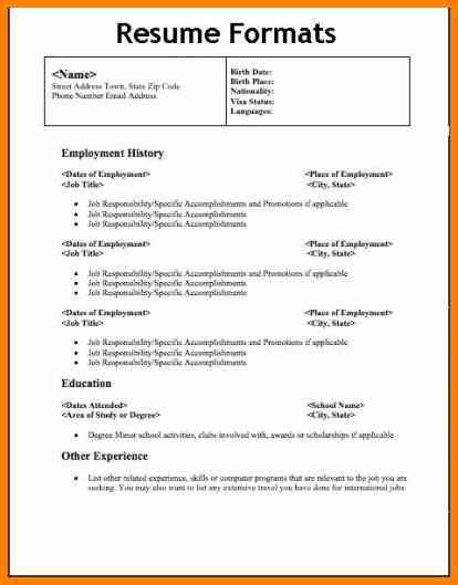 different types resumes format cashier resume sample download