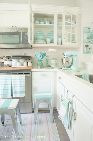 Shades of Aqua + Crisp White Coastal Kitchen by Tracey Rapisardi Design