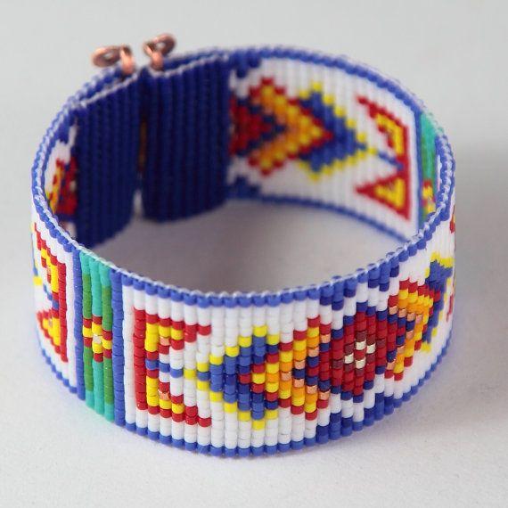 Ruidoso Bead Loom Cuff Bracelet Native American от PuebloAndCo