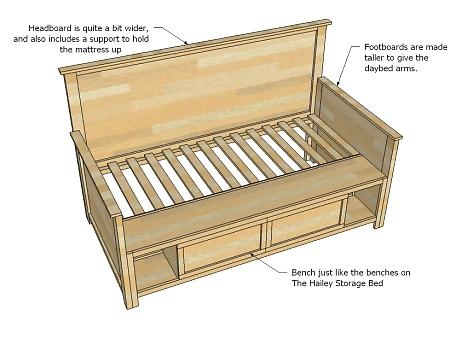 DIY :: Hailey Storage Daybed.  Perfect for a little girl, or guest room!