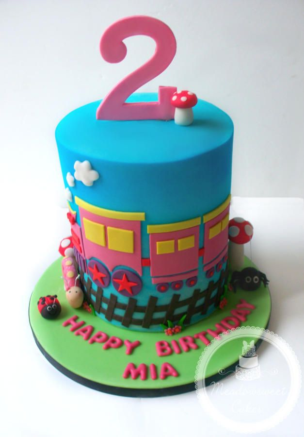 Cute Train Themed Cake  by Meadowsweet Cakes