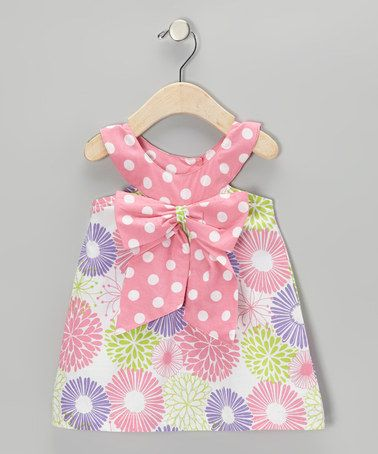 Take a look at this White & Lipstick Pink Floral Bow Yoke Dress - Infant…