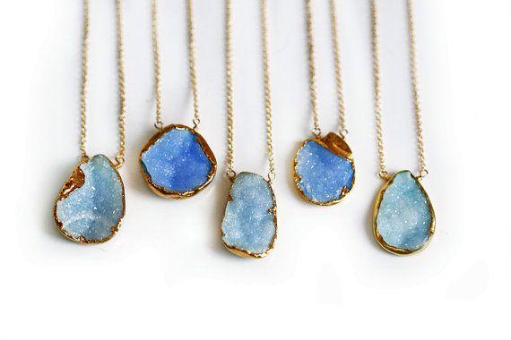 SKY blue druzy necklace by keijewelry