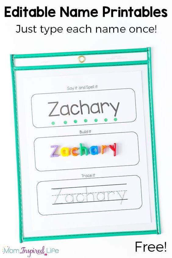 Editable name tracing and spelling printables. Type each name once and all of the pages are filled in for you! Perfect for preschool name learning.