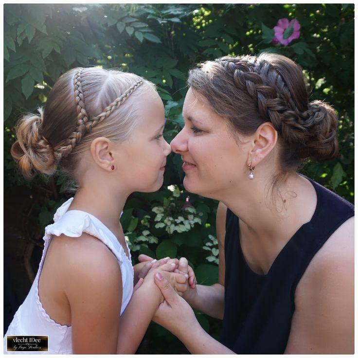 #moeder en #dochter als #daggasten voor een #bruiloft #bridal #hairstyles # bruidsmeisje # bruiloft #trouwen #bruid #opsteken #updo #braids #vlechten