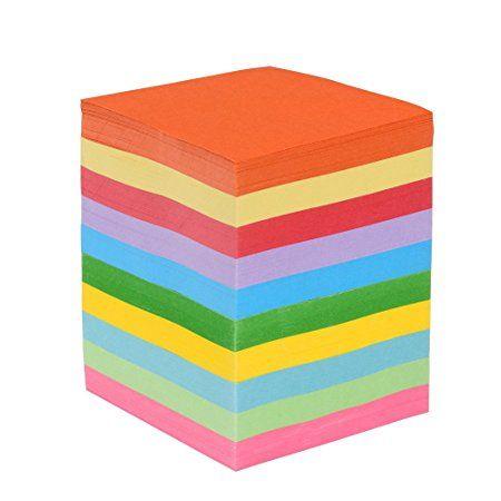 Faltpapier, 1000 Blatt 7,5 x 7,5 cm, 70 g/qm 10 Farben - bunte hochwertige Faltblätter für Origami und Bastelprojekte