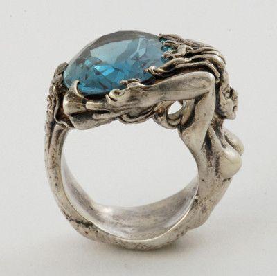 Handcrafted Beautiful Sterling 925 Full Figured OF A Mermaid Holding Ocean Ring | eBay