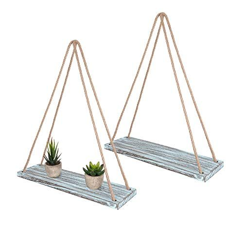 TIMEYARD Wall Hanging Shelf Set of 2 – Teal Blue Distressed Wood Jute Rope Floating Shelves, Farmhouse Organizer Rustic Home Décor