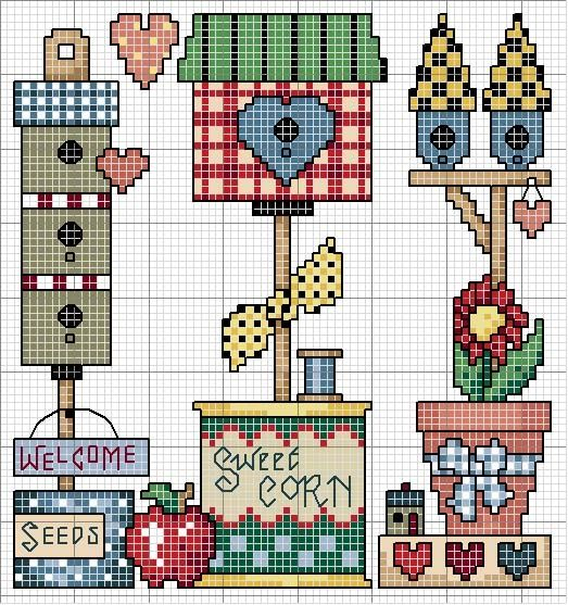<3  Cross-stitch Down Home Country Living... No color chart available, use the colors on the graph pattern as your guide.