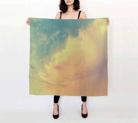 Silk square scarf,printed scarf,pure silk scarf, photo print scarf,art scarf,silk shawl,designer scarf,gift for her,nature,sky,clouds by OkopipiDesign on Etsy
