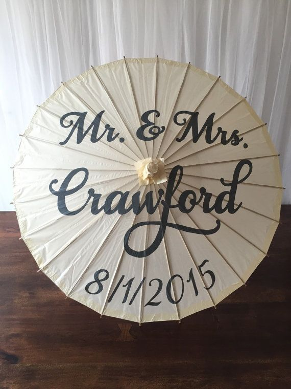 Mr. & Mrs. Parasol, hand painted parasol, custom parasol, wedding parasol, photo prop, wedding decor