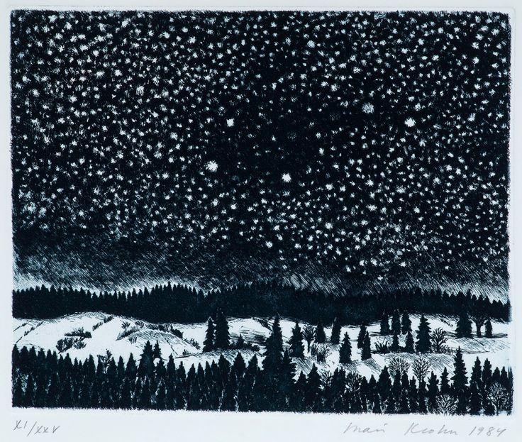"Inari Krohn - ""VINTERNATT (Winter Night)"" etching, 17x21,5 cm."