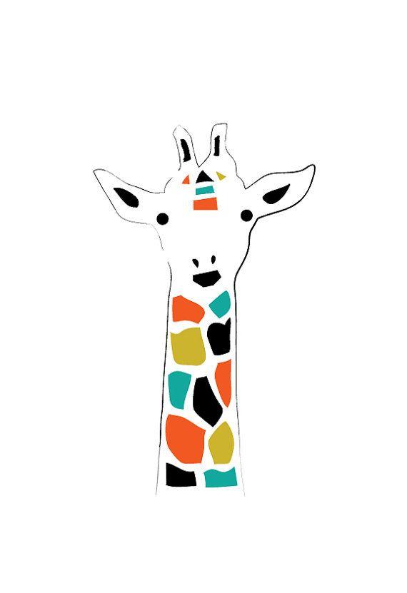 Giraffe Kunstdruck / Poster, Tierillustration, Zeichnung, Illustration, Kinderzimmer, Ki …