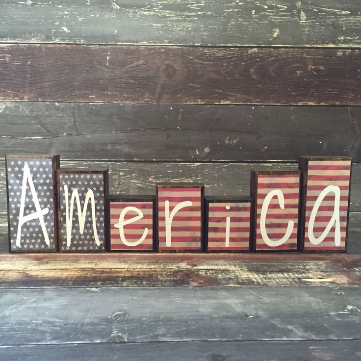 Patriotic Theme Home Decor Wood Blocks - America - {Independence Day, Stars & Stripes, July 4th} by 417designsIA on Etsy https://www.etsy.com/listing/230914874/patriotic-theme-home-decor-wood-blocks