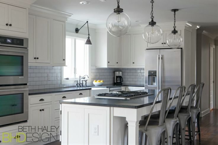 Large Pendants over Island in Kitchen