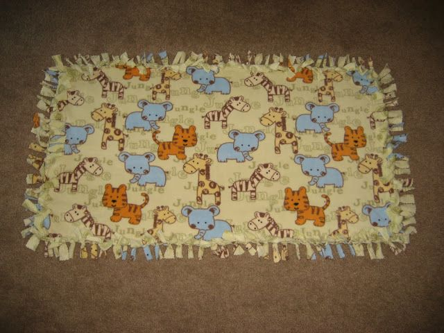 Fleece tie blankets she gives guide lines for what sizes for babies, toddlers and adults so great!