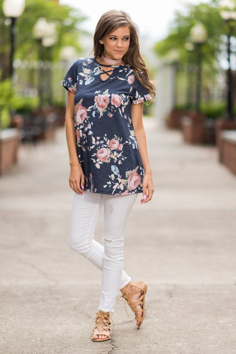 Short Sleeve Floral Print Keyhole Top, Navy - The Mint Julep Boutique