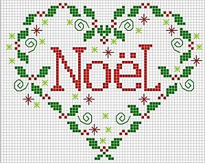 Cross-stitch Christmas Noel Heart... no color chart available, just use the pattern chart as your color guide.. or choose your own colors...