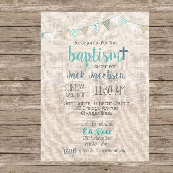 Burlap Boy Baptism Invitation (or any event) - Professional Prints or DIY Printing