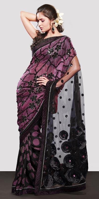 Deep purple net saree #saree #sari #blouse #indian #outfit #shaadi #bridal #fashion #style #desi #designer #wedding #gorgeous #beautiful