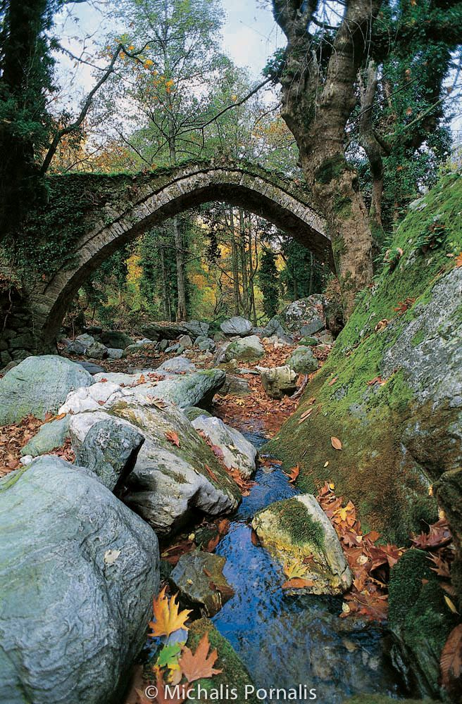 experiencegreece:  Tsagarada Bridge On the mythical mountain of Pelion, at the end of Taxiarhes settlement, on the stone pathway which leads the traveler to Xurihti and Milies, stands the beautiful arched bridge of Tsagarada, right on the Milopotamos stream (there is a sign on the main road, and a 4 minute walk onward). Probably built in 1787 by famous craftsmen of Zoupani. The landscape is magical and it is worth to spend a lot of time just siting at the wooden kiosk by the bridge…