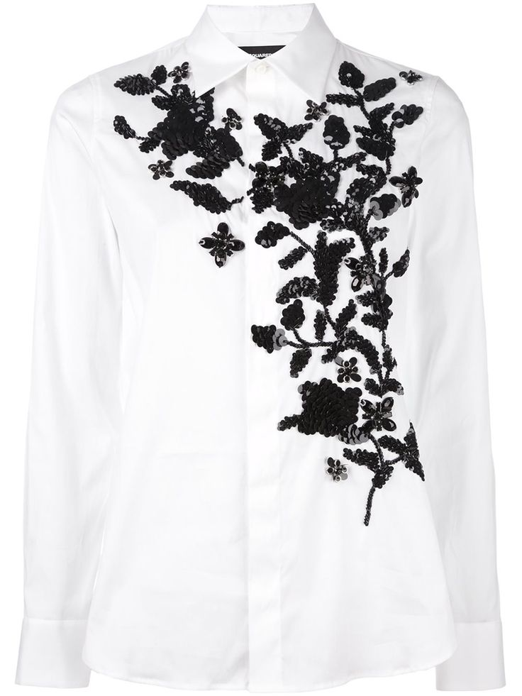Dsquared2 floral embroidered shirt