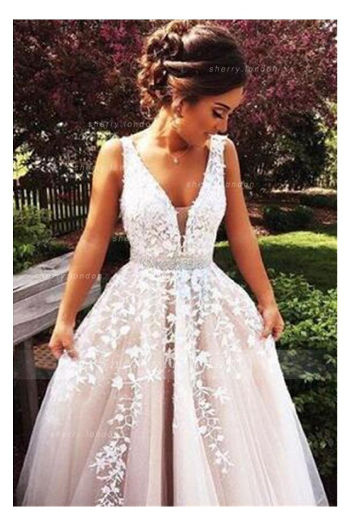 Fancy Sleeveless V Neck Ivory Lace overlay Nude Tulle Long Coast Prom Dress with Crystal Ribbon