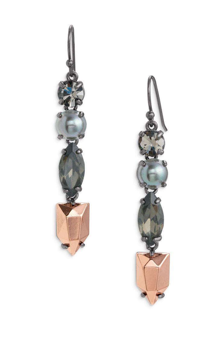Stella & Dot Kahlo Linear Earrings   Sterling Silver, Metal & Stone Drop Earrings