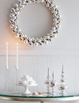 "pretty diy holiday wreath using silver ornaments ""White Christmas"" party"