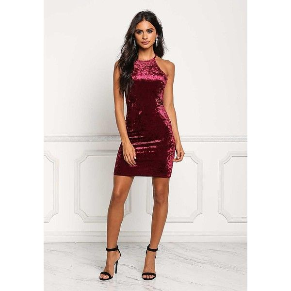 Burgundy Crushed Velvet Bodycon Dress - Under $15 - Style Steals ($15) ❤ liked on Polyvore featuring dresses, burgundy party dress, white body con dress, bodycon dress, white bodycon dress and white high neck dress