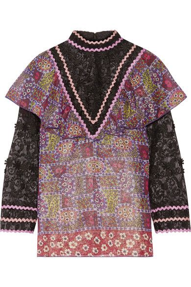 Anna Sui - Embroidered Tulle And Printed Silk-blend Chiffon Blouse - Purple - US12