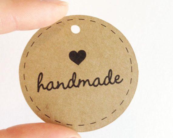 25 Kraft HANDMADE Circle Tags -  Hang Tags, Gift Tags, Labels, Die Cuts -  2.0 x 2.0 inch - Handmade Packaging