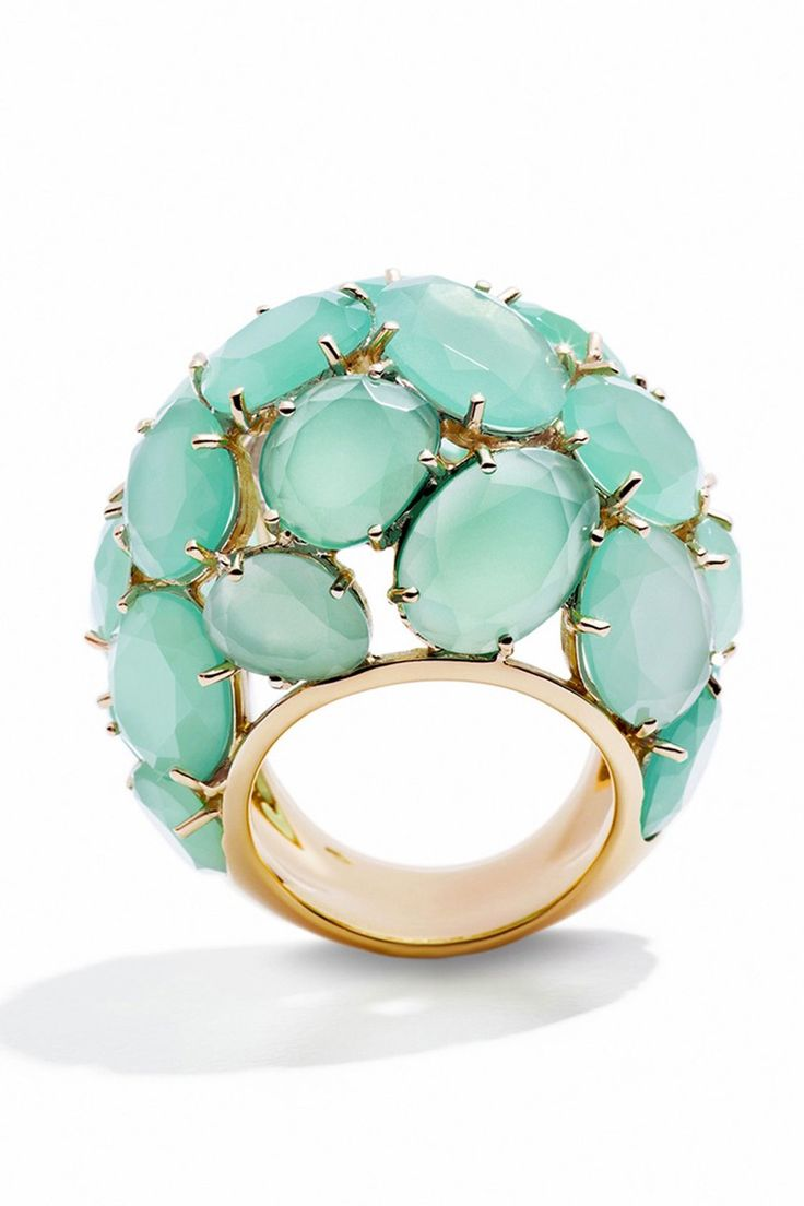 Pomellato s capri rings in rose gold with chalcedony and pink quartz