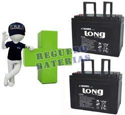 Kit de baterias de reemplazo para sillas de ruedas electricas Long en 12 Voltios 75 Amperios LGK75-12 LONG LGK75-12