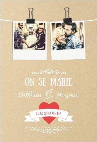 Faire-part de mariage papier : Annoncez votre mariage de façon originale et personnalisée ! Vous pouvez ajouter vos photos, modifier le texte, choisir votre type de papier et vos enveloppes. Popcarte vous permet même de commander un échantillon ! Recevez vos cartes chez vous ou envoyez-les directement chez vos proches ! A partir de 0,62€ la carte. À découvrir ici : http://www.popcarte.com/cartes-flash/mariage-fiancailles/faire-part-mariage-papier.html