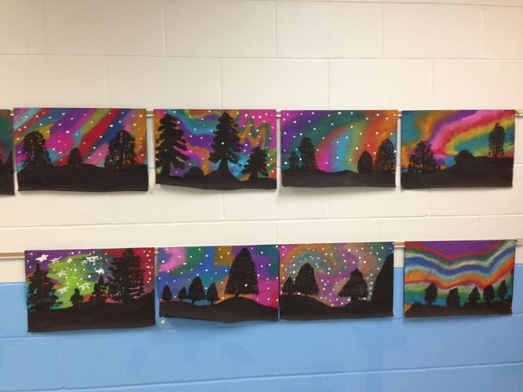 northern lights elementary art - Google Search
