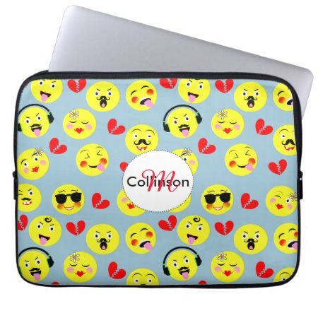 A fun design with cute smiley faces in the style of trendy emoji displaying happy and funny emotions on yellow faces with red broken love hearts.