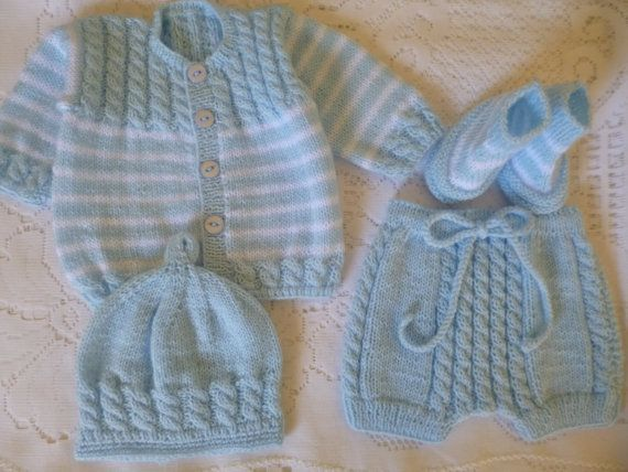Knitted Boy Set,  Newborn Boy Ensemble, Handmade Newborn Outfit, Four Pces.