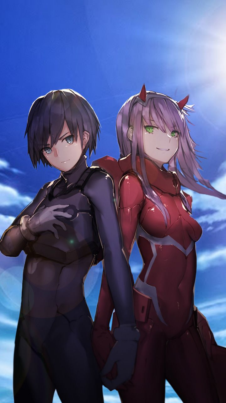 Hiro And Zero Two Anime Happy Couple 720x1280 Wallpaper Darling In The Franxx Anime Anime Art