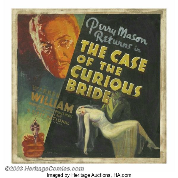 I wanted to take a moment and thank Kevin Wedman for recommending the 1935 Warner Bros. movie The Case of the Curious Bride starring Warren Williams as Perry Mason. I'd never seen one of these early films based on the Earl Stanley Gardner novels (this one was serialized in Liberty Magazine in 1934). This film has several interesting things about it that are quite contrary to the famous Raymond Burr TV show of the 1950s-60s. First, it takes place in San Francisco rather than Los Angeles…