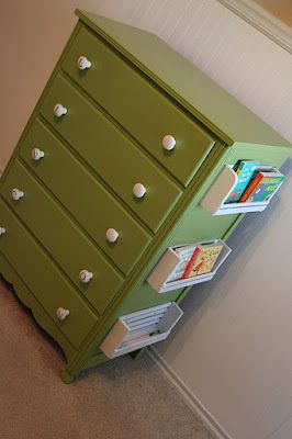 refurbished old dresser for kids room...attached shelves are genius!  i may do this on a desk.