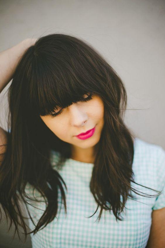 Hairstyles For Medium Length Hair Bangs : Best 25 full bangs ideas on pinterest medium bob with