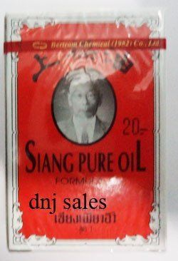 3cc Siang Pure Peppermint Menthol Oil Relieve Dizziness Red Formula X 3 Made From Thailand . $45.88. 3cc SIANG PURE PEPPERMINT MENTHOL OIL Relieve dizziness RED FORMULA x 3 bottles   Inhaling these products will help relieve nasal  congestion, dizziness, and faintness.   If they are rubbed on the affected area, they alleviate indigestion, stomach cramps, muscle strains, sprains, joint pains, bruises, soreness, boils and insect bites and stings.