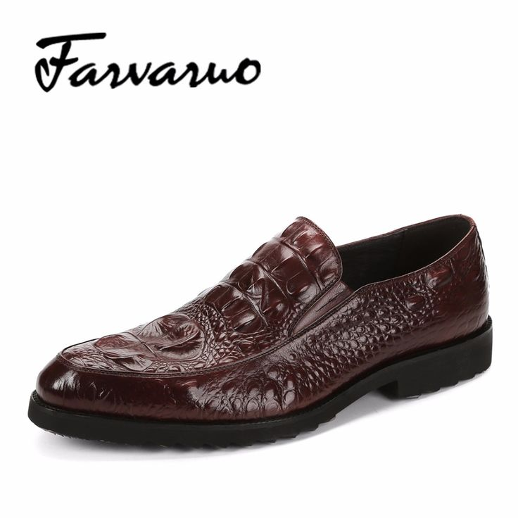 Men's Genuine Leather Crocodile Embossed Patent Dress Shoes New Arrival  2017 Vintage Handmade Shoes Men Loafers