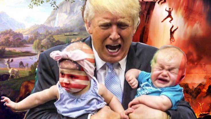 Ditos het eindresultaat. Wat ik met PicsArt heb gedaan: - Trump met de 2 baby's uitgeknipt en op een achtergrond geplakt die ik zelf heb gemaakt uit 2 foto's - op beide hoofden van de baby's heb ik een vlag verwerkt die ik een beetje weg gefaded heb - aan de kant van Amerika heb ik er nog het wittehuis onopvallend bij gezet - bij de kant van Mexico heb ik een muur met prikkeldraad verwerkt en een Mexicaanse tekst