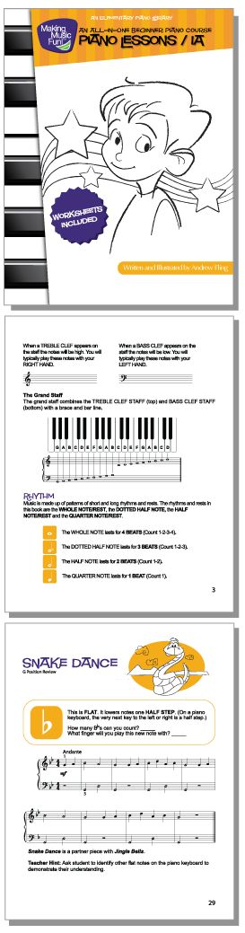 MMF! Piano Lesson Book Level 1A (32 Pages) Free Printable Beginner Piano Book - http://makingmusicfun.net/htm/f_printit_free_printable_sheet_music/mmf-piano-book.htm