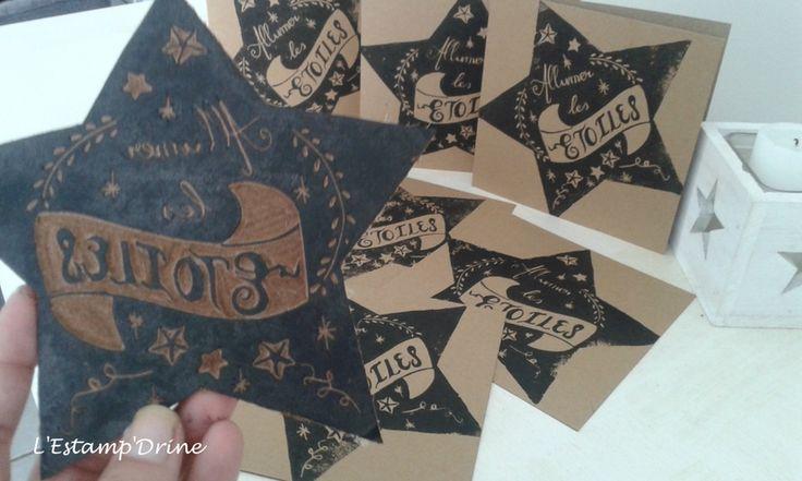 Défi gravure 9/12: thème dans le ciel, linogravure étoile par l'estampdrine
