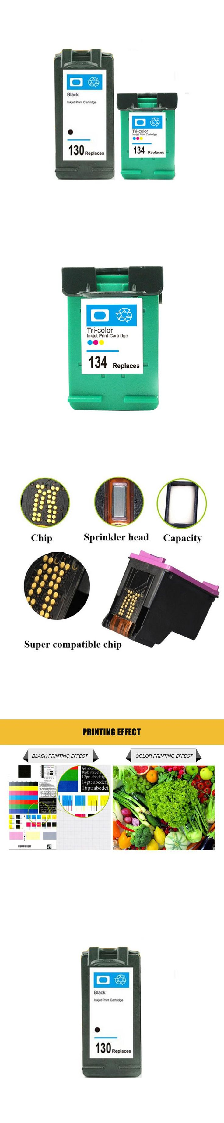 For HP 130 134 Ink Cartridge For HP130 134 Deskjet 6543 5743 6623 5743 6843 6523