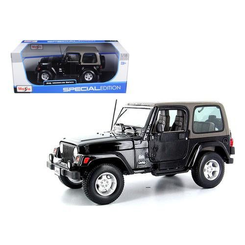 Jeep Wrangler Sahara Black 1/18 Diecast Model Car by Maisto