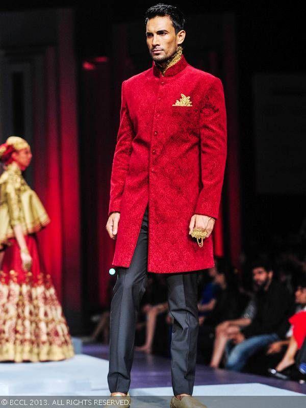 Asif showcases a creation by designer duo Shantanu and Nikhil during India Bridal Fashion Week '13, held at Grand Hyatt, in Mumbai.